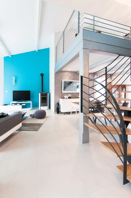Salon contemporain dans la Dombes - Contemporary - Living Room - Lyon ...