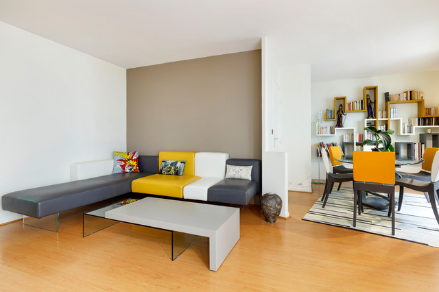 Salon et salle manger en couleur contemporary living - Couleur salon salle a manger ...