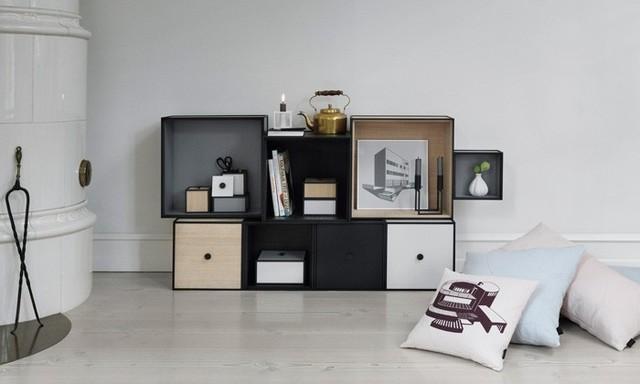 Salon meubl avec l 39 tag re modulable frame - Etagere cube modulable ...