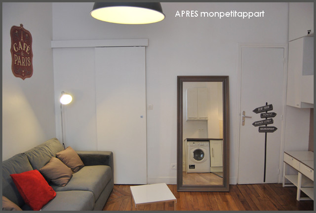 Studio de 20m2 rue du commerce paris moderne salon other metro par monpetitappart - Amenagement piece a vivre 40m2 ...