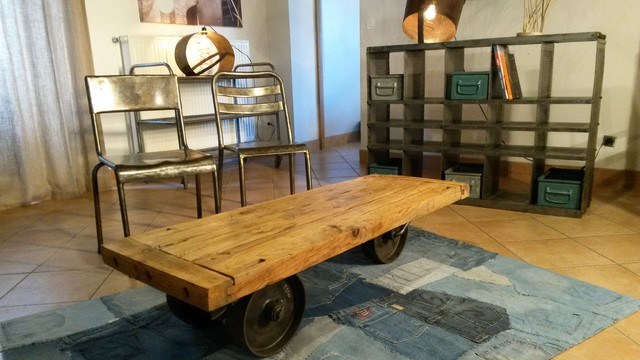 Table basse industrielle industrial living room - Table basse industrielle ...