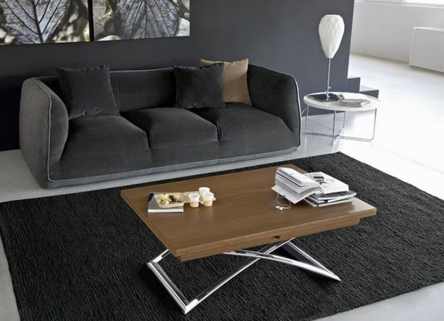 table basse relevable extensible italienne magic j de calligaris en bois vernis contemporain. Black Bedroom Furniture Sets. Home Design Ideas