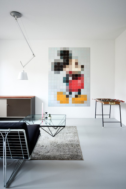 tableau mickey mouse pixel art contemporain salon. Black Bedroom Furniture Sets. Home Design Ideas