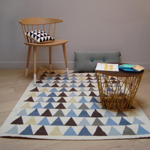 Tapis kilim bleu triangles