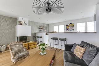 un espace de vie chaleureux et lumineux scandinave salon paris par decorexpat. Black Bedroom Furniture Sets. Home Design Ideas
