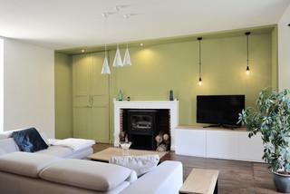Salon avec un mur vert : Photos et idées déco de salons