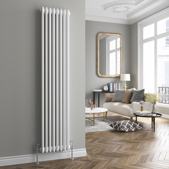 White Triple Panel Vertical Colosseum Radiator Midcentury Living Room West Midlands By