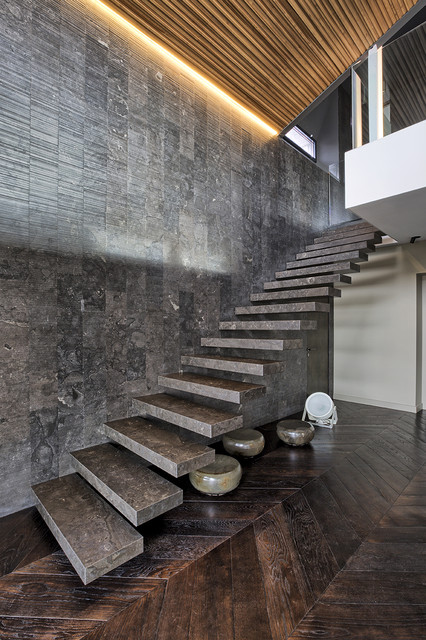Staircase - mid-sized contemporary straight open staircase idea in Turin