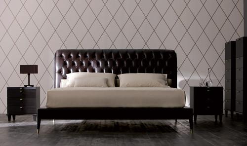 Bett mit Kopfteil in Leder - AC-42400-19