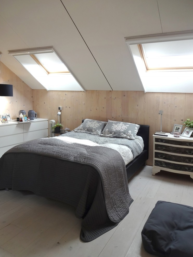 Bedroom - scandinavian master painted wood floor bedroom idea in Hanover with white walls and no fireplace