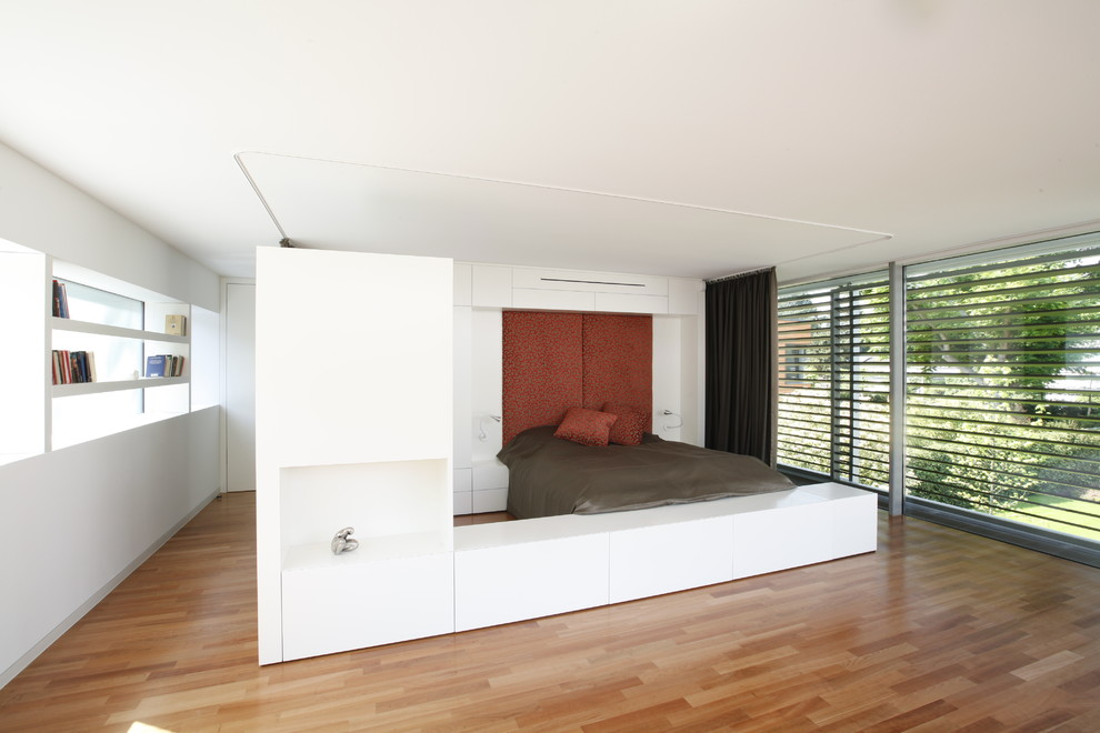 Huge minimalist guest medium tone wood floor bedroom photo in Cologne with white walls