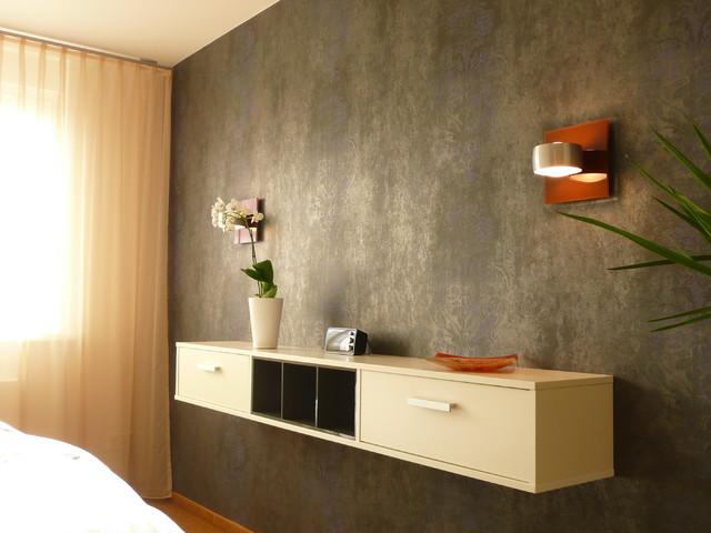 wandgestaltung schlafzimmer modern, wandgestaltung und wandleuchten im schlafzimmer - modern, Design ideen