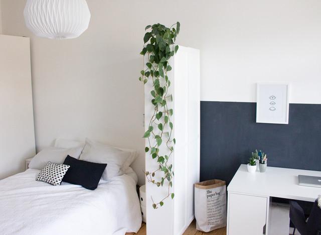 Wohn  , Schlaf  Und Arbeitsbereich In Einem Zimmer Skandinavisch  Schlafzimmer