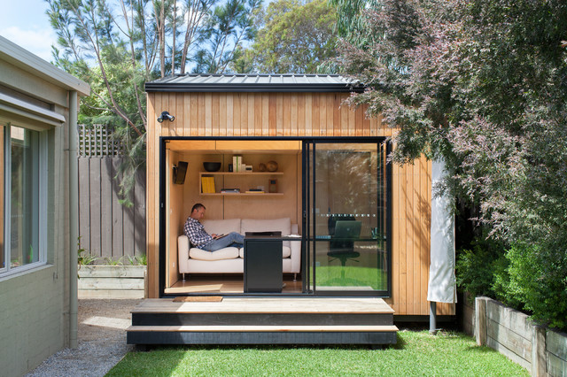 the resulting office is small with a footprint of 10 square meters and an internal floor area of 8 square meters this is the polyhedron and its a unique building a garden office