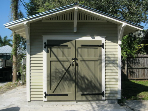 Need paint color ideas for a large shed for Bungalow garage