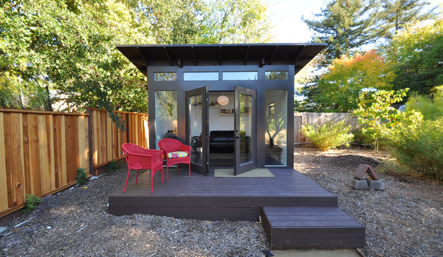 Bay area office 10x12 studio shed lifestyle modern for Modern prefab shed