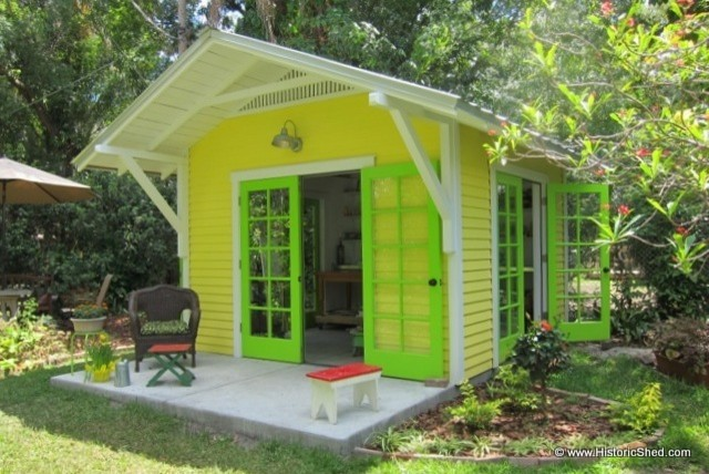 A Sunny Artist Studio tropical-garage-and-shed