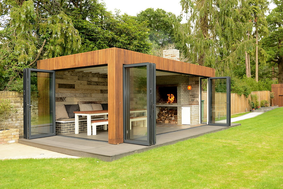 Example of a large trendy shed design in Other
