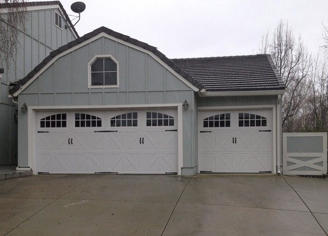 Amarr classica santiago steel carriage garage door for Farmhouse garage doors