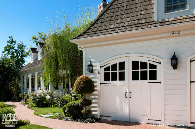 Arched Wood Carriage Garage Doors Traditional Garage