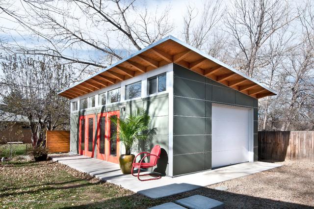 Building A Studio In The Backyard artist's backyard studio shed / boulder, co - contemporary - garden