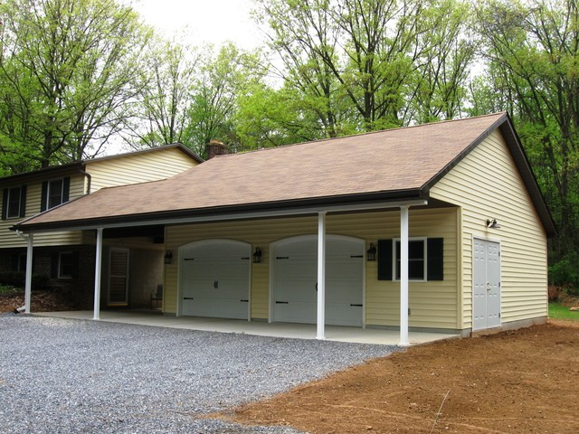 Attached garages traditional shed philadelphia by for Carport with shed attached
