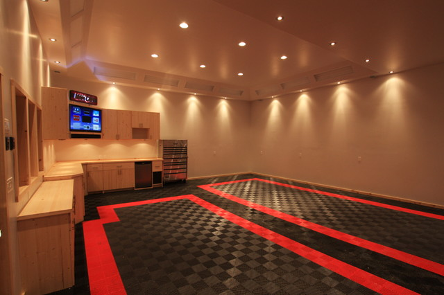 Awesome home garage remodel with racedeck garage flooring for Man cave garage floor ideas