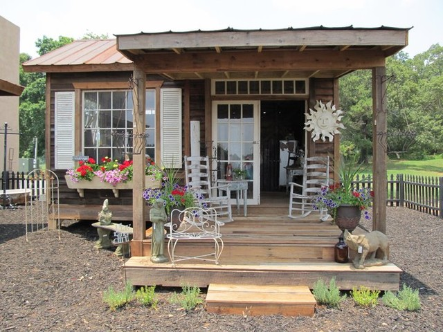 Backyard Potting Shed Garden Eclectic Garage And Shed