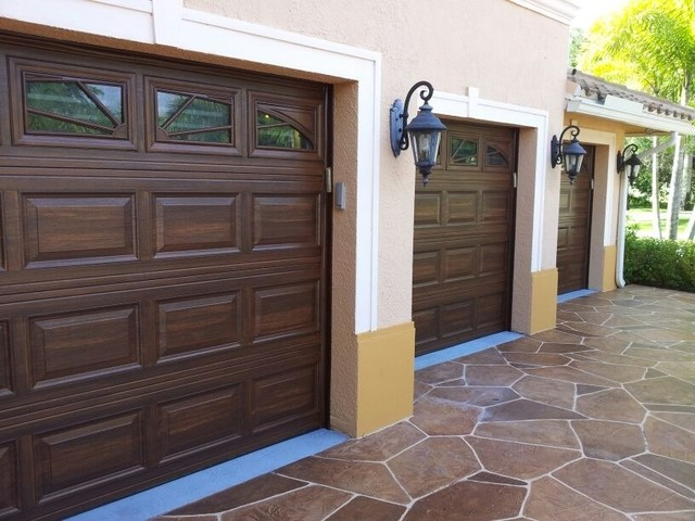 Beautiful wood grain doors traditional garage and shed for Wood grain garage doors