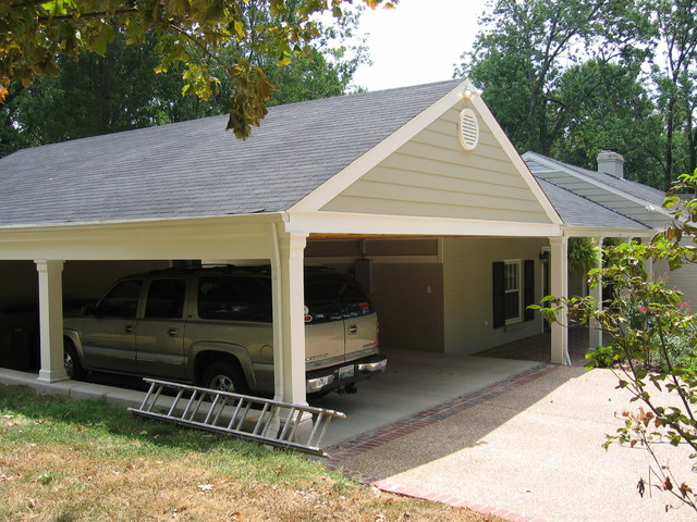 Bell meade carport addition craftsman shed nashville for Garage with carport designs