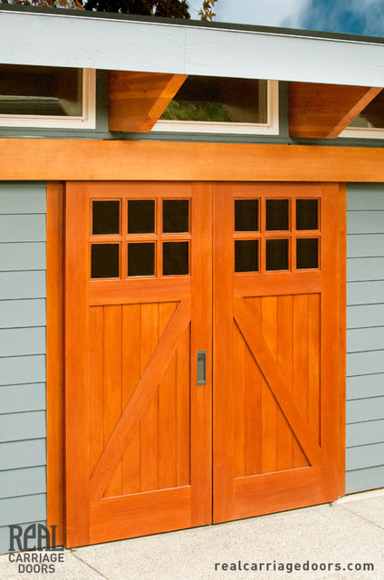 Biparting Sliding Doors Contemporary Garage And Shed