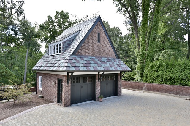 Brick garage with slate roof traditional garden shed for Building a brick garage