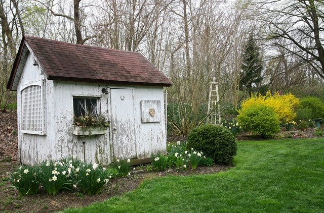 Bucks County Bungalow Shabby chic Garage And Shed