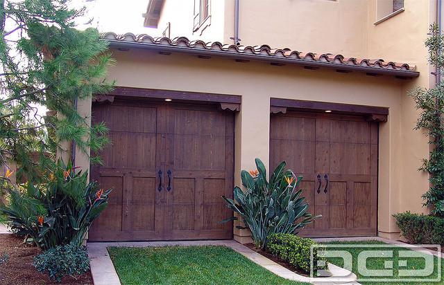 California Dream 05 Spanish Style Rustic Select Knot Cedar Garage Doorsmediterranean Shed Orange County