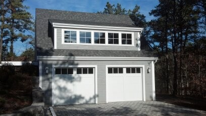 Cape garage with living space above traditional shed for Garage designs with living space above