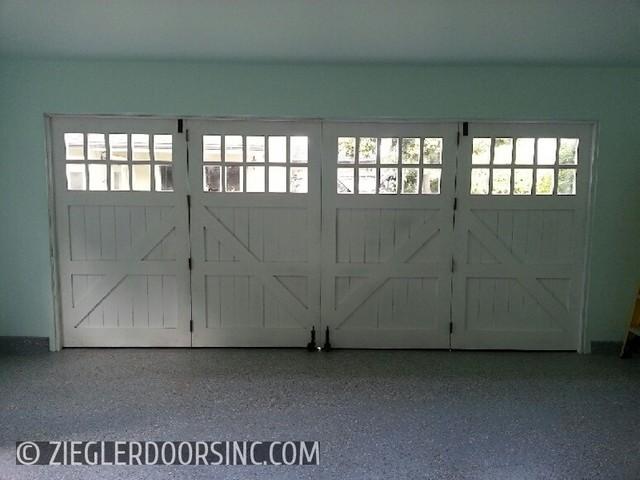 carriage garage door in a bi fold configuration east side costa mesa home office farmhouse bi fold doors home office