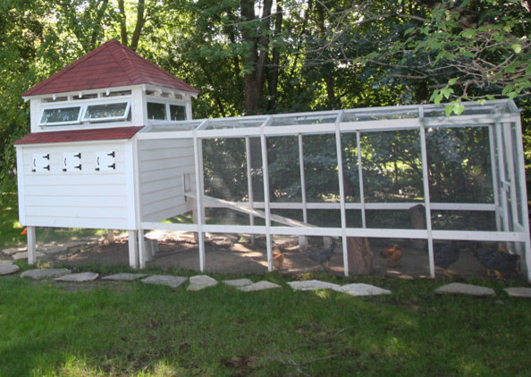 Chicken coop garage-and-shed
