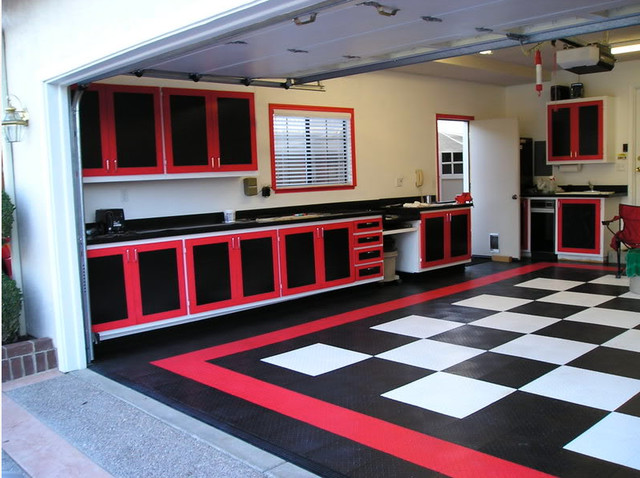 Classic Checkerboard Theme Garage With Racedeck Flooring