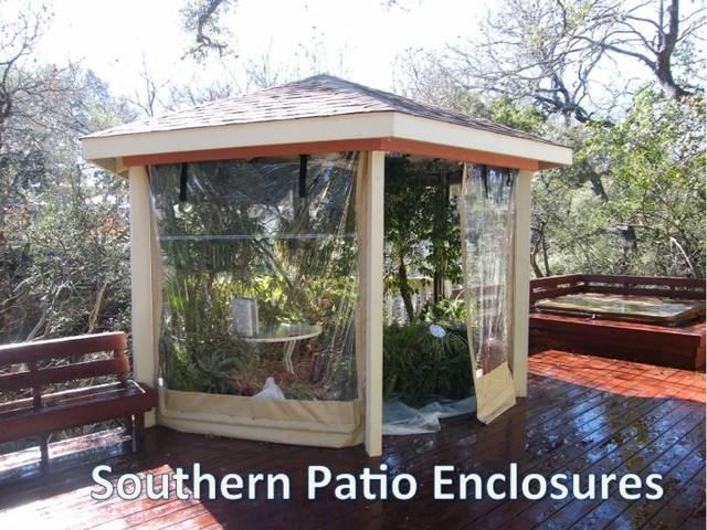 Clear Vinyl Patio Enclosure Weather Curtains Carpenter Austin TX Gazebo