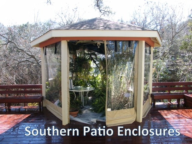 Clear Vinyl Patio Enclosure weather curtains - Carpenter - Austin TX (gazebo) traditional-garage-and-shed