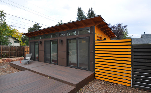 Studio Shed with Bathroom 14x26 - Contemporary - Garage And Shed ...