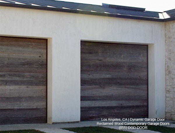 . Contemporary Garage Doors Crafted in Rustic  Reclaimed Wood Salvaged