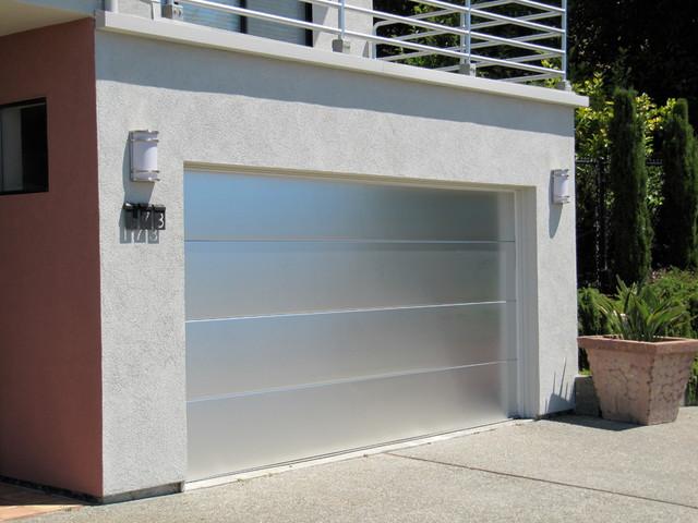 Custom Brushed Aluminum Garage Door In Marin County
