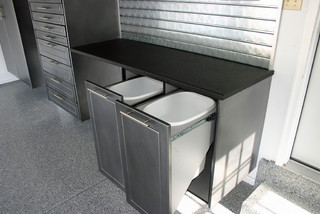 Custom Garage Cabinets with Recycle Bins