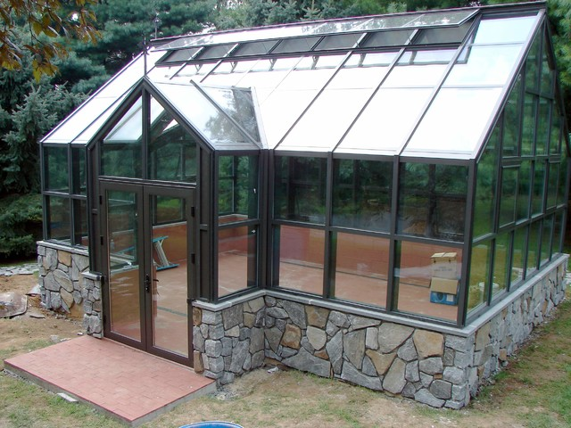 Custom glass greenhouse traditional garden shed and for Traditional garden buildings