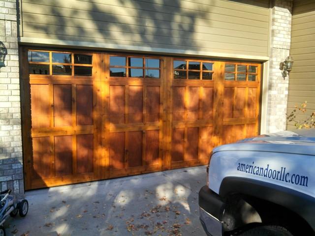 Custom Wood Door craftsman-garage-and-shed