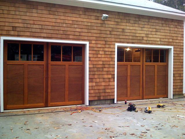 Custom Wood Garage Doors transitional-garage-and-shed