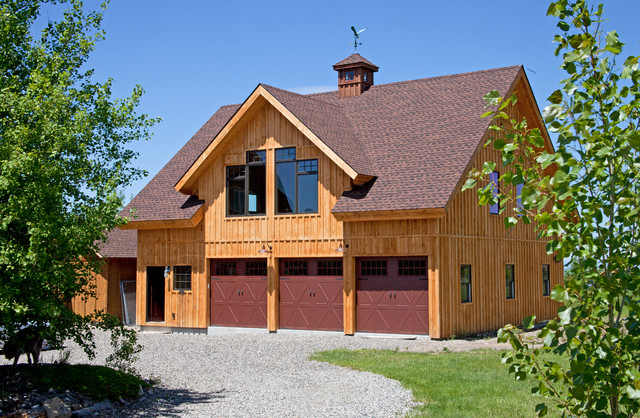 Detached garage in montana rustic garage and shed for Large garage with living quarters