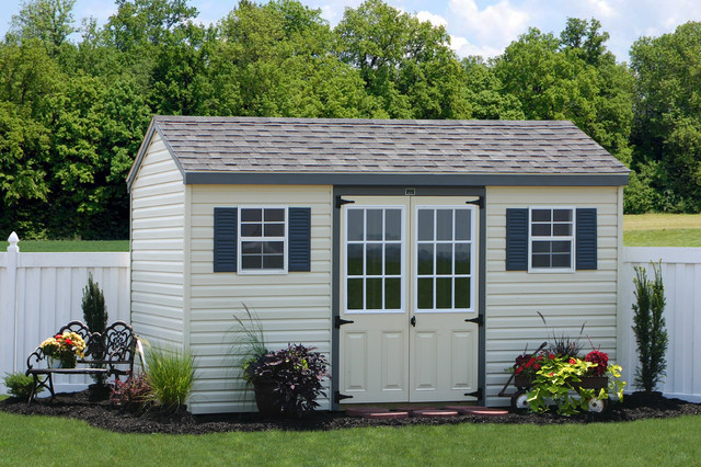 Discount vinyl sided storage shed for sale traditional for Cheap outdoor sheds for sale