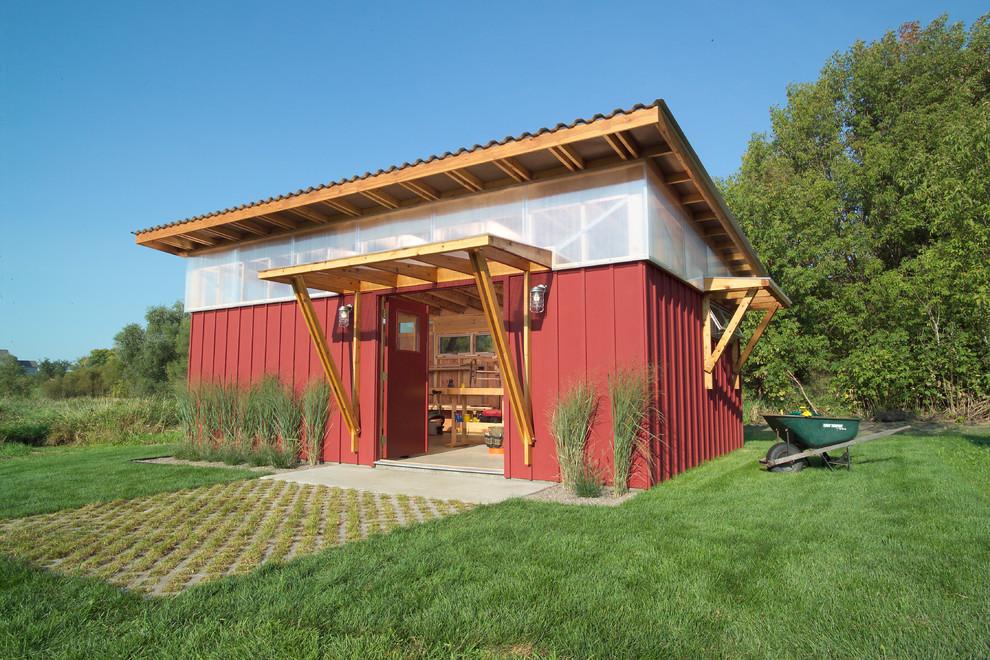 Farmhouse detached studio / workshop shed photo in Minneapolis
